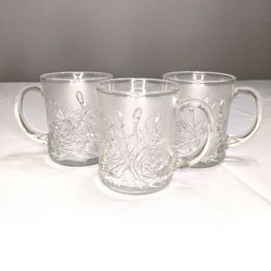 Vtg Frosted Glass Rose Mugs Pasari Glassware